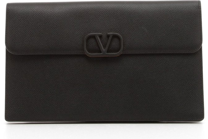 Large VLOGO Leather Clutch