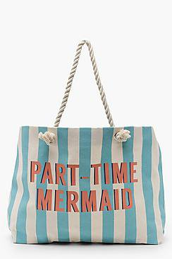 Olivia Slogan Stripe Canvas Rope Handle Beach Bag