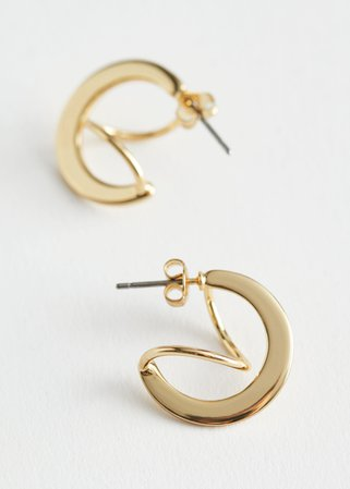 Twisted Back Hoop Earrings - Gold - Hoops - & Other Stories