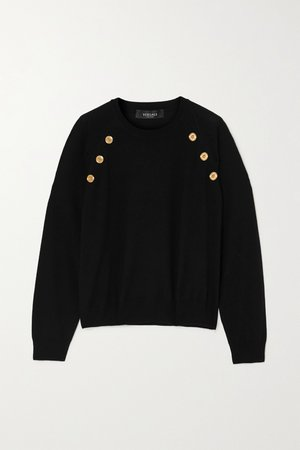 Black Button-embellished wool sweater | Versace | NET-A-PORTER