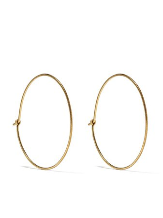 White Bird 18kt Yellow Gold Hoop Earrings