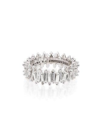 Suzanne Kalan 18kt white gold baguette-cut diamond ring - Farfetch