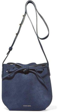 Mini Mini Suede Bucket Bag - Navy