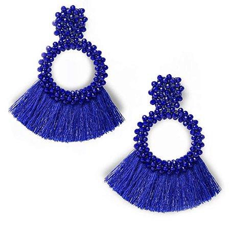 Amazon.com: Une Douce Beaded Tassel Earrings for Women, Big Hoop Dangle Fringed Drop Earrings Boho Statement, Gift Ideas for Women, Girls, Mon, Wife and Friends (Blue): Jewelry