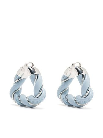 blue & silver Bottega Veneta twisted hoop earrings
