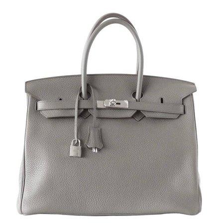 Hermes Birkin 35 Bag Etain Gray Clemence Palladium Hardware