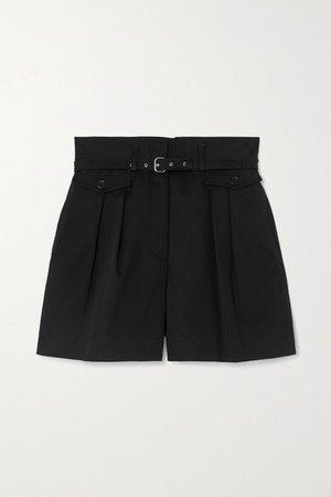 Belted Pleated Stretch-cotton Gabardine Shorts - Black