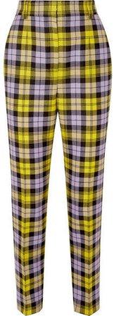 Checked Woven Straight-leg Pants - Yellow