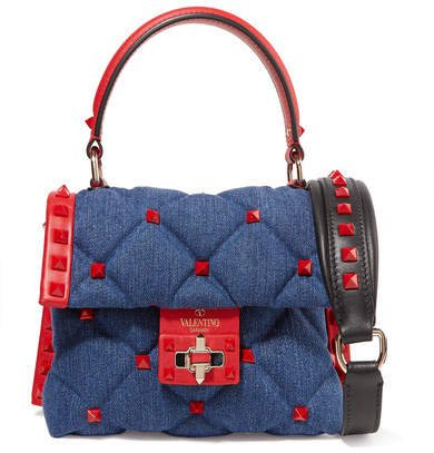Garavani Candystud Mini Leather-trimmed Quilted Denim Shoulder Bag - Navy