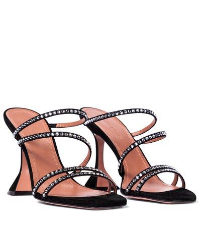 Naima Embellished Suede Sandals - Amina Muaddi | Mytheresa