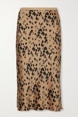 Bar Printed Silk-satin Midi Skirt - Yellow