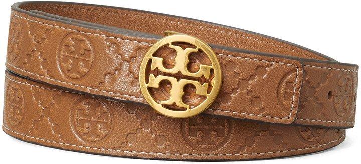 Logo Monogram Embossed Leather Belt
