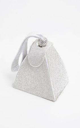 Silver Diamante Pyramid Mini Bag | PrettyLittleThing USA