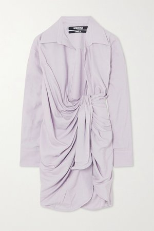 Lilac Bahia draped twill mini wrap dress | Jacquemus | NET-A-PORTER