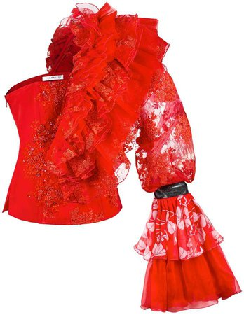 JIRI KALFAR - Red Silk Corset With One Shoulder Ruffle Top