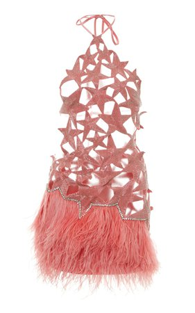 Star-Embellished Feathered Halter Mini Dress by Attico | Moda Operandi