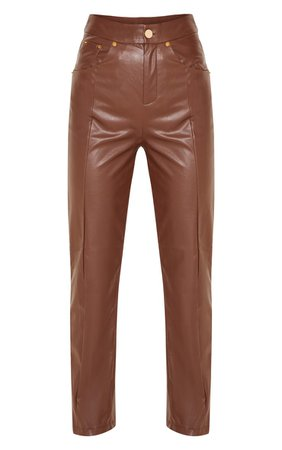 Brown Faux Leather Straight Leg Trouser | PrettyLittleThing