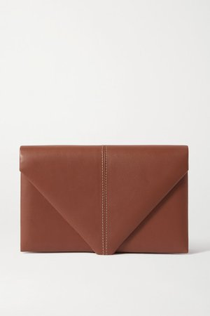 Envelope Leather Clutch - Brown