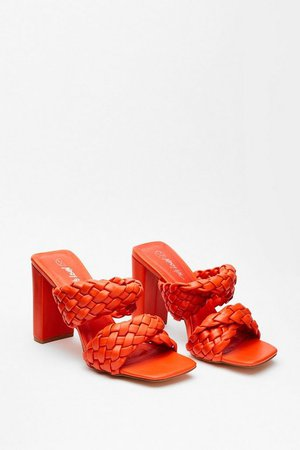 The Woven Moment Faux Leather Heeled Mules | Nasty Gal