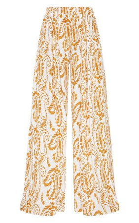 White Paisley Print Wide Leg Trousers | PrettyLittleThing