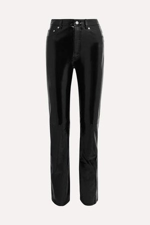 Patent-leather Straight-leg Pants - Black