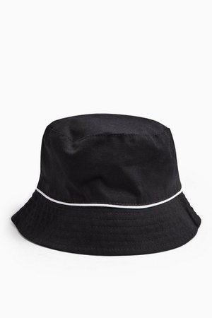 Black Piped Bucket Hat | Topshop