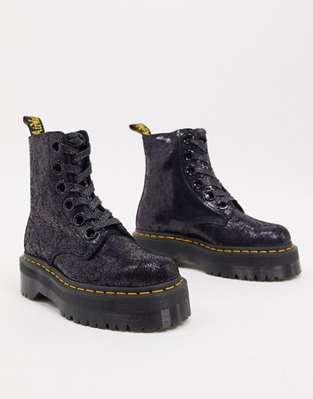 Dr Martens Molly boots in black crackled leather | ASOS