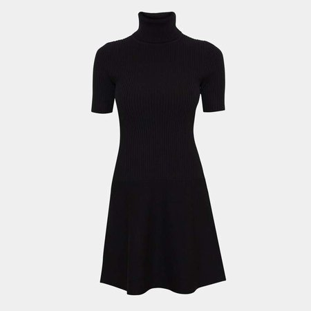 Wool Short-Sleeve Ribbed Dress