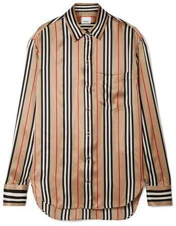 Striped Silk-satin Shirt - Beige