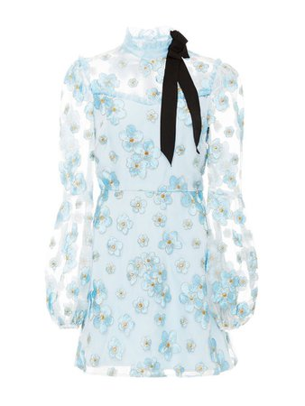 Long sleeve light sheer blue dress