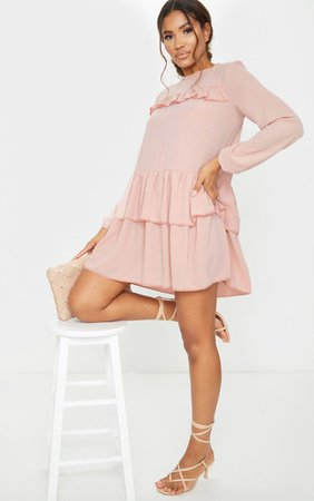 Nude Layered Frill Smock Dress   Dresses   PrettyLittleThing USA