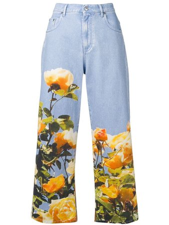MSGM printed cropped jeans - Blue