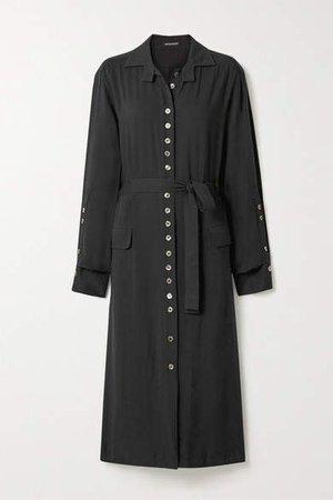 Belted Twill Midi Dress - Black