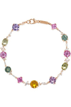 Suzanne Kalan | 18-karat rose gold, diamond and sapphire bracelet | NET-A-PORTER.COM