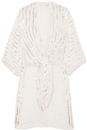 Neri Tie-front Sequin-embellished Crepe Kimono - Ivory