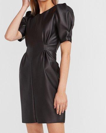 Puff Sleeve Vegan Leather Dress