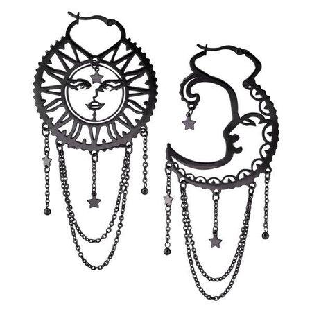 Sun and Moon Ear Hoops - Black Surgical Steel – Curiology Ltd