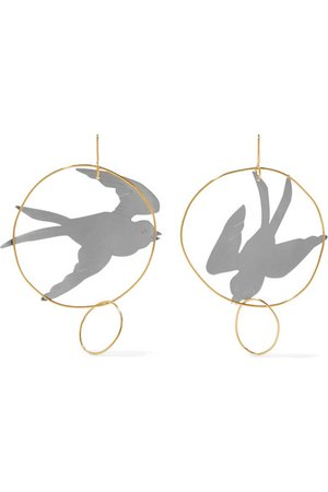 JW Anderson | Gold and silver-tone earrings | NET-A-PORTER.COM