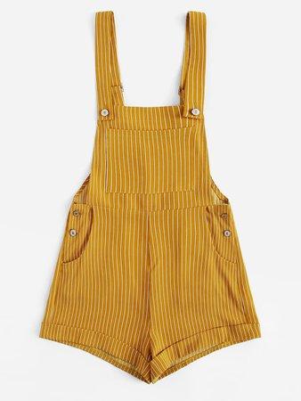 Bib Pocket Front Cuffed Hem Striped Overall Shorts | ROMWE
