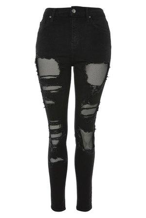 TOPSHOP   Jamie Black Fishnet Rip Skinny Jeans   Nordstrom Rack