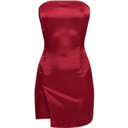 Burgundy Bandeau Satin Split Bodycon Dress