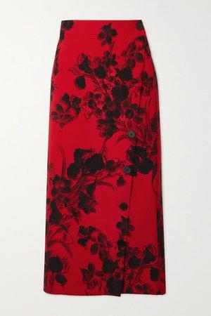 Red Floral-print wool-crepe midi skirt   Balenciaga   NET-A-PORTER