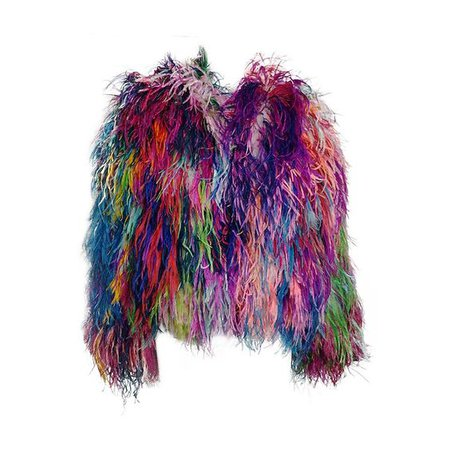 1980s Adrienne Landau confetti ostrich feather jacket