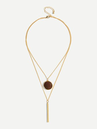 Bar And Round Pendant Necklace