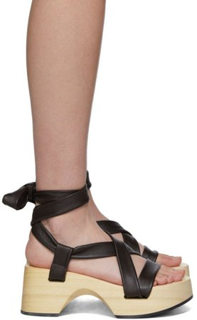 Brown Strap Wedge Sandals