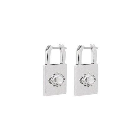 Evil Eye Padlock Earrings- Silver | Luv Aj