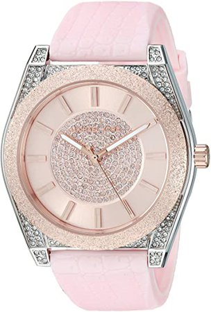 Michael Kors Women's Channing Stainless Steel Quartz Watch with Rubber Strap, Pink, 20 (Model: MK6704): Watches