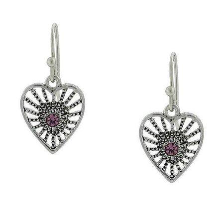 Antiqued Silver-Tone Amethyst Purple Petite Filigree Heart Earrings