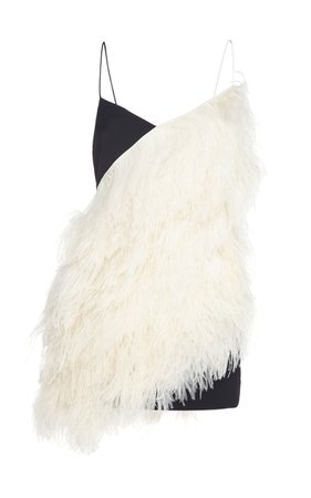 David Koma Feather Two-Toned Mini Dress