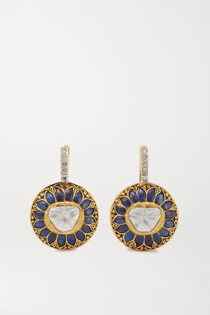 Gold 18-karat gold and sterling silver multi-stone earrings | Amrapali | NET-A-PORTER